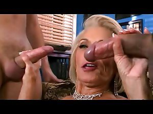 Blonde Granny Likes Two Cocks