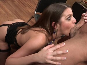 Slutty business woman with fake tits gets fucked on the table