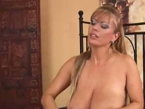 Blonde milf with massive tits spooned hard