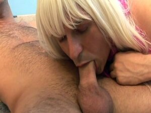 Cross dressing fuck action for this blonde babe