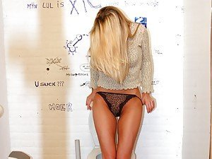 Shy blonde lured into a toilet with surprise