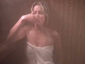 Sensual Retro Blonde Bo Derek Wearing Just a Towel In a Steamy Sauna