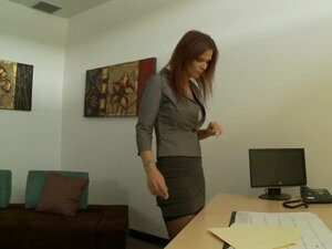 Slutty secretary Syren De Mer rides her boss's dick in the office