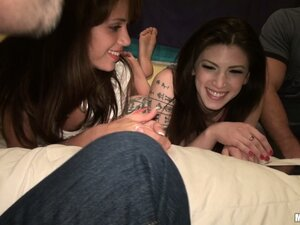 Naughty group of teen girls tease horny guys at the coed slumber party