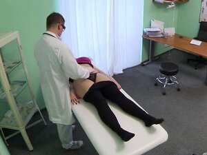 Blonde patient railed by a fake doctor and blasted with cum