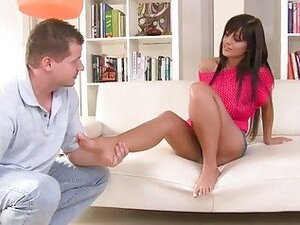 Black Angelica enjoys foot sex