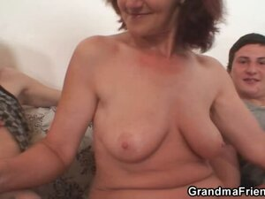 Hot mature threesome with granny