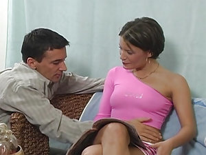 Petite, brunette, and cute as a button - Lora Croft fits all those bills, and stars in this 29 minute hardcore scene. She starts out feeling herself up in a pink outfit, but that outfit doesn't star in this scene very long. In this scene she masturbates a