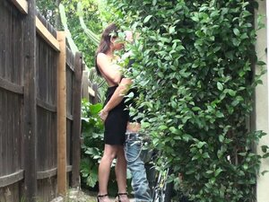 Petite brunette lady Jennifer Dark blows cock and fucks in the bush
