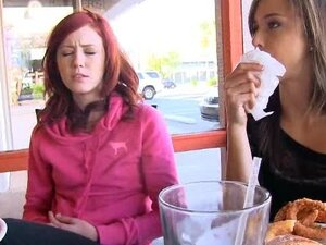 Elle & Malena can't restrain themselves even in cafe