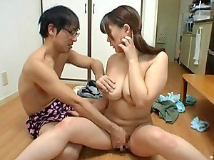 Busty Japanese housewife rides a dick in cowgirl position
