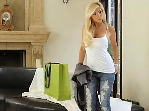 Gorgeous Blonde In Hot Lingerie Rides Her Lover Hard Cock