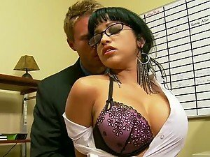 Busty Brunette Secretary Getting Banged By Her Boss In The Office