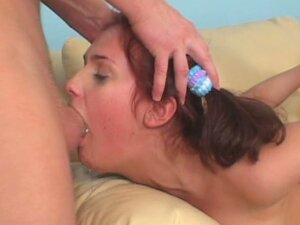 Sexy young slut deep throating a long cock and getting a good jizz load