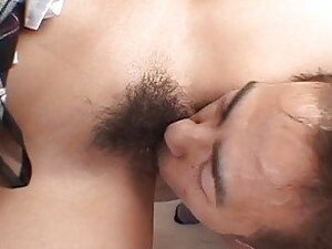Hairy pussy Asian chick sucking and fucked