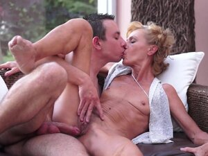 Sweet curly-haired granny was fucked in puss