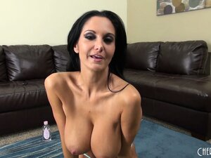 Ava shows off her big tits and gets naked to playfully pose for you