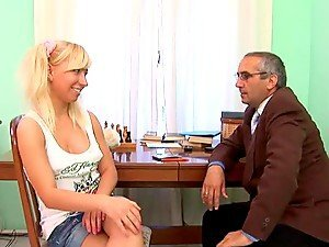 Cute Blondie With Pigtails Fucked By Her Dirty Old Teacher.