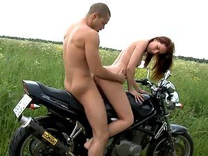 Take a look at this outrageous video of a teen couple banging on the motorcycle