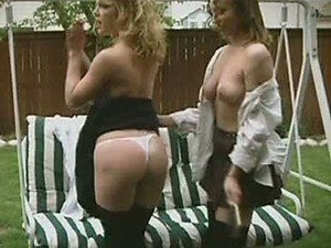 Lezzie Kira Reed & Friend Show Tits and Slap Their Buttocks