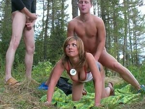 Outdoor Threesome in the Forest with Anal Sex for a Blonde Slut