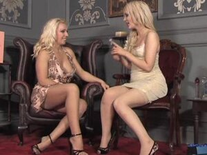 Milf Lana gives babe glass dildo for hot lesbian action