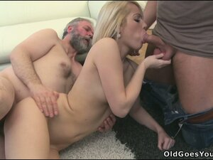 Nona is joined by another cock for her to suck on and they bust a nut