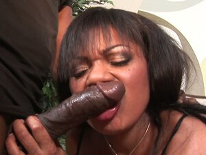 Ugly black whore Janet Jacme sucks the cock deepthroat shaking her tits