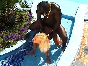 Huge Black Cock Destroying a Petite Blonde's Asshole Outdoors