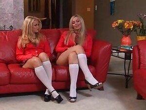 Two blondes in school uniform and teacher having hot lesbian sex