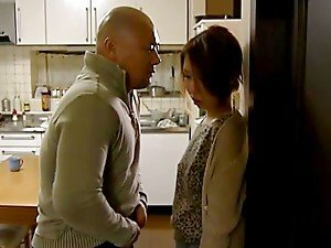 Japanese wife gets fucked in standing position in the kitchen