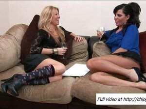 Two ladies give handjob at a party