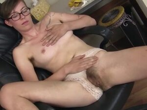 Very hairy girl fingers her pussy