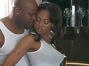 Hot Black Sex In The Kitchen With The Beautiful Ebony Evanni Solei