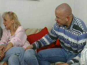 Bald dude watching her woman fuck another guy