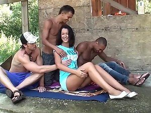 Outdoor Gangbang With A Really Horny Teen Brunette