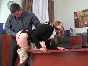 Spanked secretary fucked in the asshole