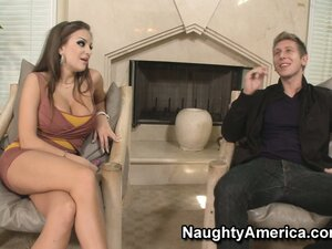 Nika Noir chats with her date, strips, and goes down on his wanker