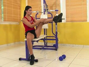 Her workout turns into a different workout as she goes for the clit