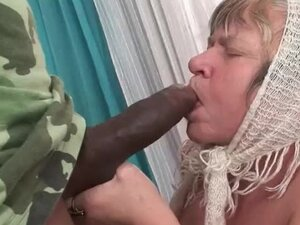 Granny with big saggy tits fucking black man