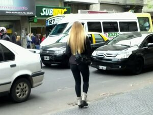 Beautiful blonde chick in street candid video