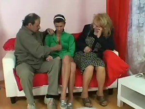 Horny Old Couple Have a Hot Threesome With a Cute Teen