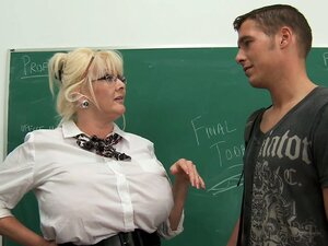 Kayla Kleevage is charmed by her new student so she blows him