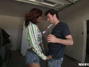 Sexy ebony redhead sells him a car and he fucks her for a down payment