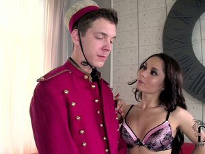 Brunette gets the bellboy and desk clerk for a threesome and champagne