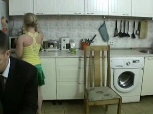 Horny wife gets some in the kitchen