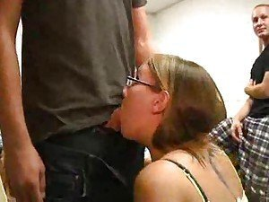 Teenage girl sucking on dick in bathroom