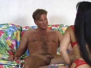 Long-haired exotic beauty gets a taste of a white man's hard member