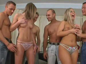 Group sex fuck of Niki and Viki, which love cum swallowing