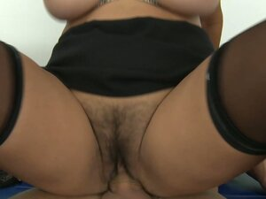 Big tits and hairy pussy are jumping up and down on a cock on a school floor